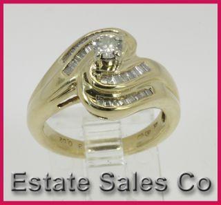 Ladies 14k Yellow Gold Round & Baguette Diamond Wedding Ring 0.52
