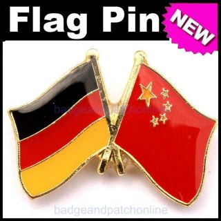 5pcs Germany CN Dual Flag Gold Plated Lapel Pin Badge