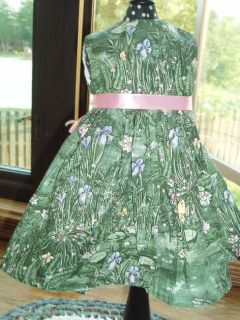 Lily Pond Print Green Dress Fits 18 American Girl Doll Clothes
