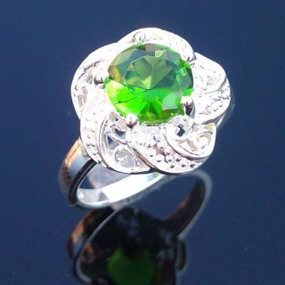 Fashion Ring Jewelry Silver Gemstone Ring Green Quartz Ring Size 7