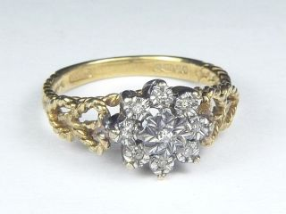 Terrific Vintage English 9K Gold Diamond Heart Star Rope Ring