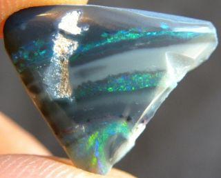 Green Fire Rough Black Opal Lightning Ridge Polished Specimen