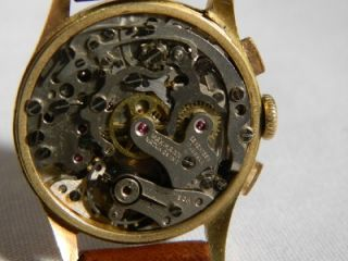 Vintage Swiss Gigandet Wakmann 18K Solid Gold Chronograph 17J Watch 2