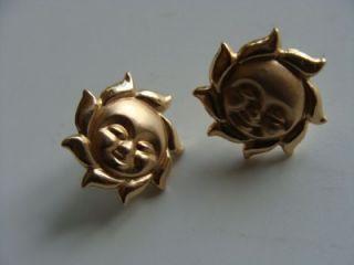 14k Yellow Gold Round Earrings in The Sun Moon Shape not Scrap
