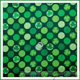 BOOAK Fabric Green White Polka Dot *Shamrock Clover St Patricks Day