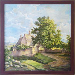 Green Country Village Original Oil Painting Art Israeli Artist Oil