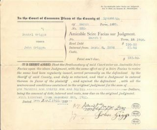 Lycoming County PA Court Document Griggs vs Griggs 1902