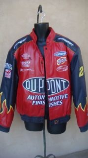 DUPONT JEFF GORDON MEN RACE CAR RACE RED MOTORCYCLE LEATHER JACKET L