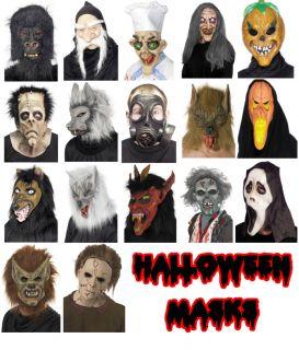Halloween Fancy Dress Costume Latex Face Masks Assorted Full Face