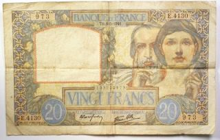 1941 Banque de France 20 Francs Note Fine French WW II Paper Money