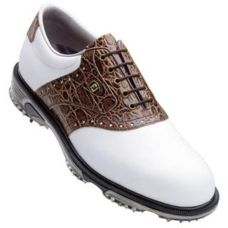New FootJoy Dryjoy Mens Tour Golf Shoes 53754 Medium White Brown
