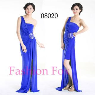 Style One Shoulder Blue Evening Dresses Long Prom Gown 08020 SZ 16