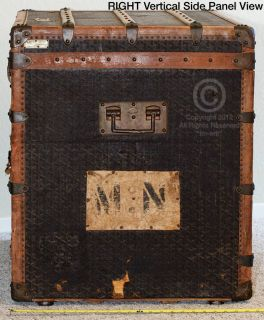 Maison E Goyard Aine Large Flat Top Slated Steamer Trunk French Paris
