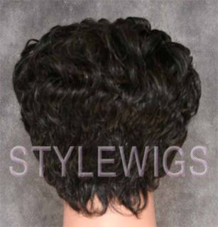 100 Human Hair Wig Short Curly 10 Grey Black Mix ABH5