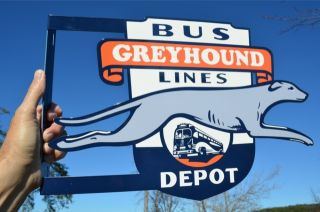 OLD STYLE GREYHOUND BUS LINES GREYHOUND DOG DIECUT FLANGE SIGN