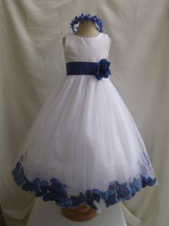 WHITE ROYAL BLUE BRIDAL PARTY FLOWER GIRL DRESS 6 12 18 24 MO 2 4 6 8