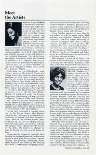 Carnegie Hall Opera Program Grace Bumbry Shirley Verrett 1982 Marion