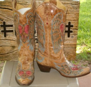 LNIB Womens Corral Western Heart Peace Angel Cowboy Boots Sz 9