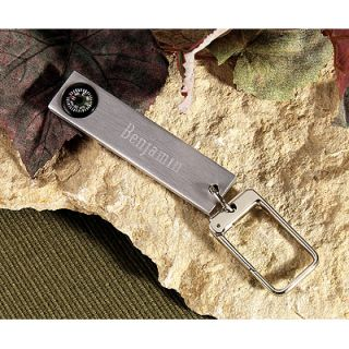 Personalized Engraved Nickel Plated Compass Key Ring Groomsmen Gift