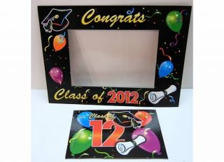 Lot 24 Graduation Party Photo Frames Magnets Cap School Color Balloons