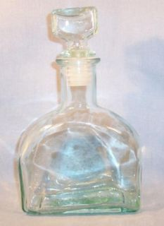 Vintagepale Green Italian Glass Decanter Original Stopper Made in