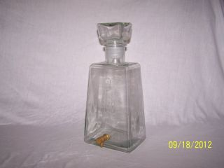 HUGE CLEAR GLASS UNIQUE VINTAGE WHISKEY DECANTER w GLASS STOPPER METAL