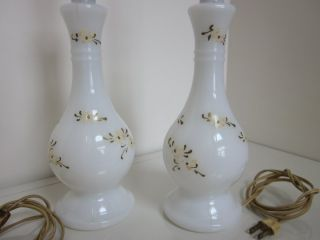 Vintage Pair of Milk Glass Lamps with Hand Painted Designs