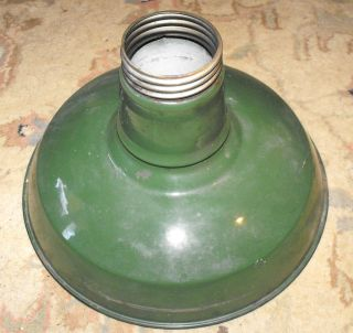 Vintage Nice Old 12 Green Porcelain Enamel Industrail Light Fixture