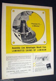 Assembly Line Laminated Shim Co Glenbrook Ct 1957 Ad