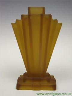 Bagley Grantham Art Deco 1930s Amber Glass Vase Flower Frog
