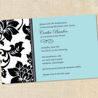Blue Bridal Baby Shower Luncheon Graduation Party Invitations