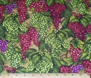 Grapes Fruit Vintage Wine Fat Quarter Fabric