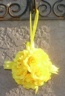Balls Yellow Wedding Flowers Decorations Pomander Kissing Pew Chair