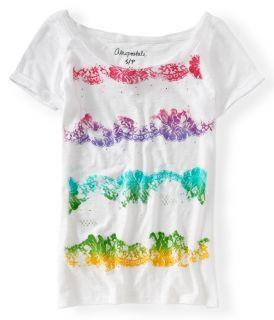 Aeropostale Womens Gradient Lace Stripe Graphic T Shirt