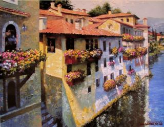 Howard Behrens Bassano Del Grappa Hand Embellished by Artist on Canvas