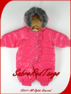 Hanna Andersson Shiny Puffer Down Snowsuit Pink Garden 50 0 3 M