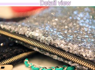 Sequins Glitter Sequin drop Clutch Purse Cosmetic Pouch Gold, Silver