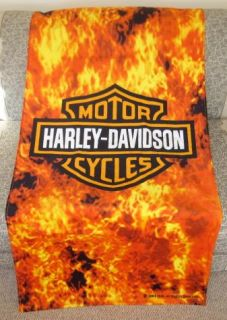 New Large Harley Davidson Flames Shield Motorcycle Bath Beach Towel