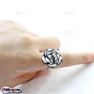 Fashion Women's Simple Black And White Rose Flower Ring Adjustable