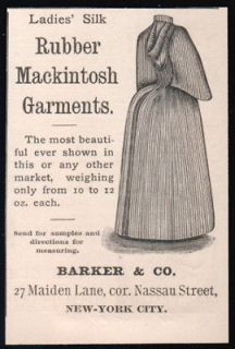 1890 Ladies Silk Rubber Mackintosh Garment Hood Bustle Antique Fashion