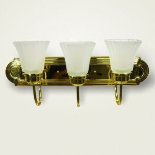 Light 3 Lamp Polished Brass 24 Light Fixture Plus Globes 2615