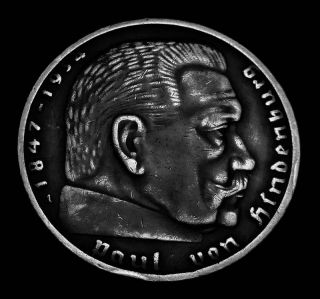 Hindenburg Germany 1937 A Silver 2 Mark Hitler Nazi 1 Coin WWII
