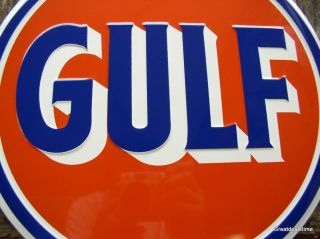 MAN CAVE SIGN GULF Vintage look Gas Oil Logo Emblem Garage Advertising