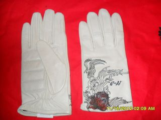 Harley Davidson White Leather Gloves