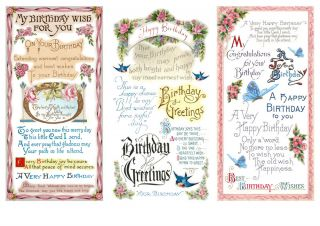Stickers Pack FLONZ Happy Birthday Wishes Greetings Vintage Retro 801