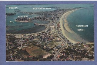 Aerial View MA Chrome PC Nantasket Beach Hull Bay Boston Harbor