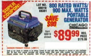 Harbor Freight Tools Coupon 800 Rated Watt 900 Max Portable Generator