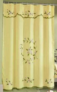Daisy Flower Floral Bathroom Shower Curtain Yellow Green Bath Mat