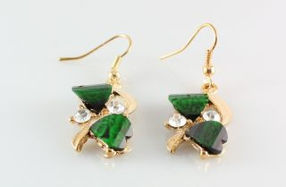 Hot Green Garnet Topaz 18K Yellow Gold Plated Necklace Earrings Set