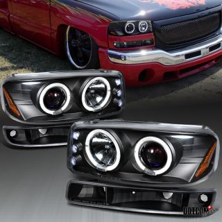 1999 2006 GMC Sierra Yukon Projector Headlights Bumper Black
